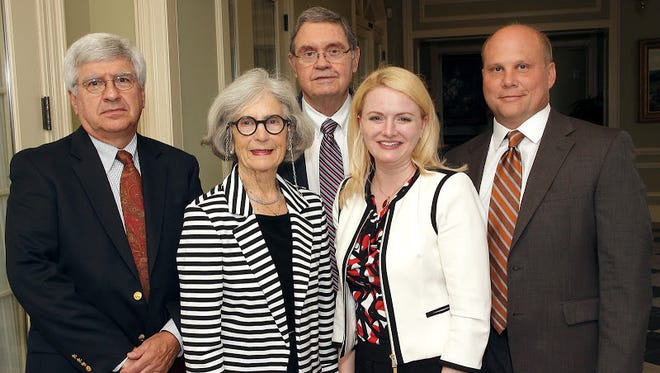 From left, Wick Many, Sara Beasley, Jere Beasley, Jessica Brooks Lane, Craig Hoesley were among those attending a reception co-hosted by the University of Alabama Medical Alumni Association and the UAB School of Medicine at the Wynlakes Golf and Country Club.