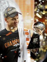 Peyton Manning of the Denver Broncos celebrates after winning Super Bowl 50 at Levi's Stadium on Feb. 7, 2016, in Santa Clara, Calif. The Broncos defeated the Carolina Panthers 24-10.