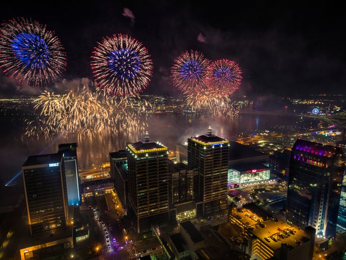 A view of the fireworks during Thunder Over Louisville