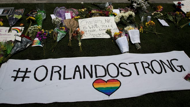 ORLANDO, FL - JUNE 13:  on South Orange Avenue down the street from Pulse Nightclub on June 13, 2016 in Orlando, Florida. The shooting at Pulse Nightclub, which killed 50 people and injured 53, is the worst mass-shooting event in American history. Democratic California lawmakers are now advancing a sweeping array of gun control legislation days after the deadliest mass shooting in U.S. history.