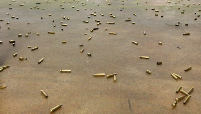 Shell casings on the floor of Tritac Shooting Range in Salem. Owner Martin Weiss said requests for firearms training have increased this year because of uncertainty concerning the presidential election.