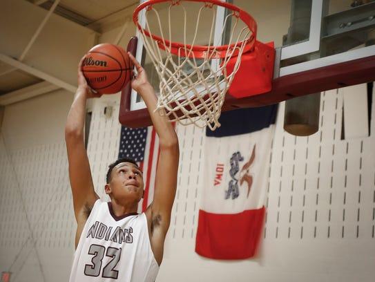 Oskaloosa freshman Xavier Foster, 14, makes his way