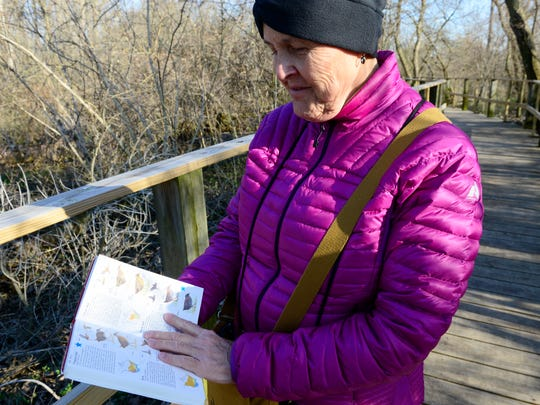 Deborah Kibbel of Wheeling, West Virginia shows which birds she saw at Magee Marsh and surrounding areas.