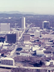 Downtown Greenville showing The Greenville News building and the Daniel Building.