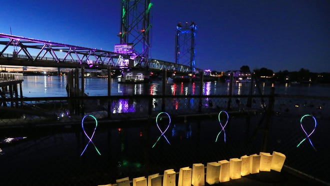 The Memorial Bridge, connecting Portsmouth and Kittery, Maine, was lit in metastatic breast cancer awareness colors of green, pink and teal on