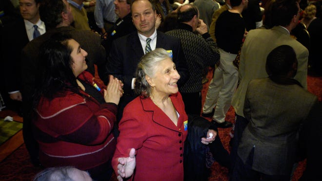 Loreece Haddad of Peoria shows her excitement as the returns arrive during an election victory party in Peoria for former U.S. Rep. Aaron Schock. Haddad, the 85-year-old matriarch of a legendary Peoria restaurant family, died last weekend.