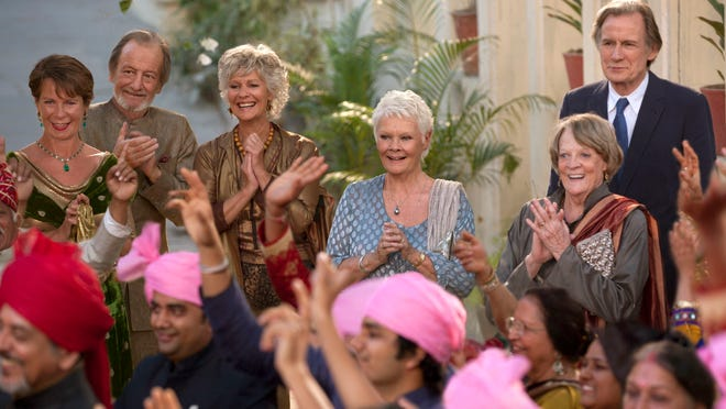 "Celia Imrie (from left), Ronald Pickup, Diana Hardcastle, Judi Dench, Maggie Smith and Bill Nighy star in ""The Second Best Exotic Marigold Hotel."""