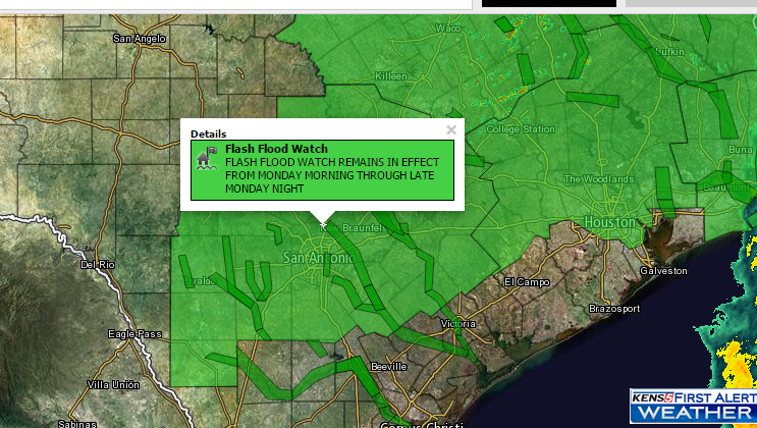 Flash Flood Watch in effect Monday 10 a.m. to Tuesday