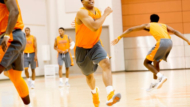 Grant Williams (2) warms up during team practice at Pratt Pavilion in Knoxvile, Tennessee on Thursday, October 5, 2017.