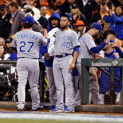 Royals reliever Brandon Finnegan is congratulated after getting the final two outs of the seventh inning in Game 3 of the World Series.