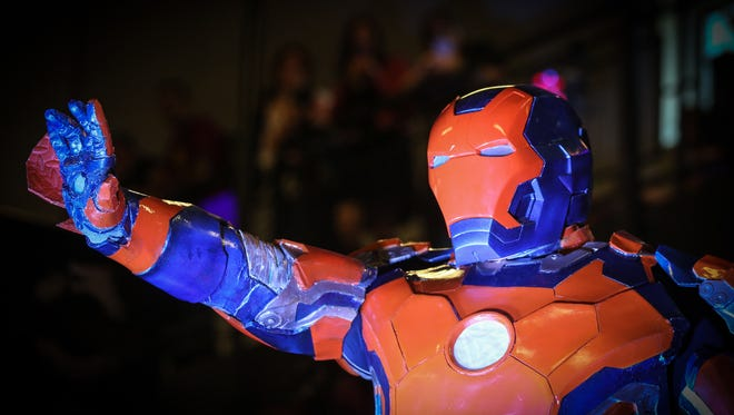 "In this file photo, David Perez, dressed ""Bronco Iron Man"", competes in the adult costume contest at the Fort Collins Comic Con on Sept. 12, 2015."