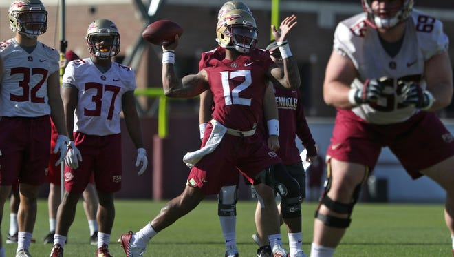 FSU's Deondre Francois throws the ball during spring practice at the Al Dunlap Training Facility on Wednesday, March 21, 2018.