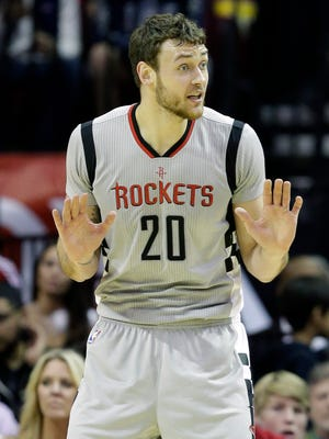 Houston Rockets center Donatas Motiejunas questions a foul call against him Dec. 19, 2015, in Houston.