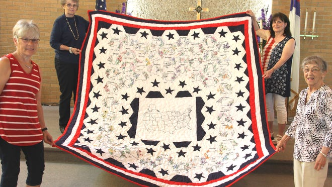 Sharon Post, top left, used some of her time during the COVID-19 shutdown to create an heirloom quilt of the United States. Friends Suzanne Smith, Carmen Furney and Donna Willison agreed it should be on display at their church, Bronson United Methodist.