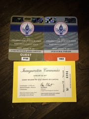 Passes from the inauguration events that Herrell and Galassini attended.