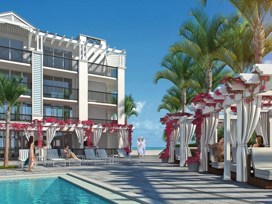 Pool view rendering of Hutchinson Shores Resort & Spa. The resort's two swimming pools are positioned so that sun seekers can always find rays, no matter the time of day.