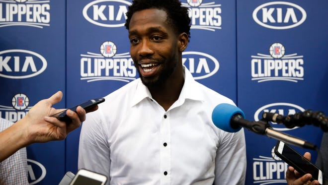 Patrick Beverley talks to reporters during a news conference Tuesday in Los Angeles introducing the newest members of the Clippers.