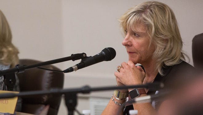 Debra Hicks, chair of the New Mexico State University Board of Regents, listens to supporters of a tuition hike during a special regents meeting Monday June 12, 2017. The regents voted to raise tuition by 6 percent.