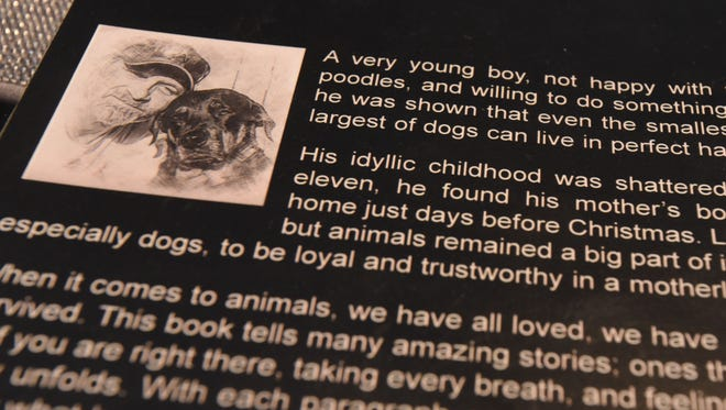 Jimmy Trine and his dog, a Rottweiler named Samantha are shown on the back jacket of the book Jimmy penned.