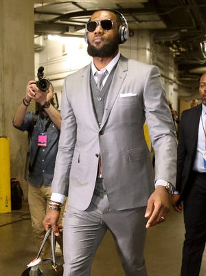 LeBron James of the Cavaliers enters the arena before Game 3 against the Pacers.