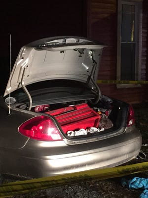 A possible working meth lab was found in the trunk of this car parked outside 115 S. Morton St. in Centerville Thursday night.
