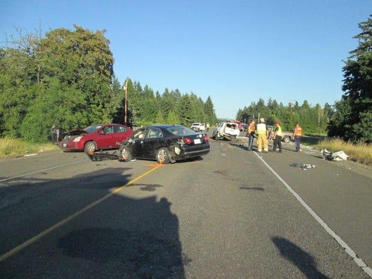 A crash Sunday evening on Highway 58 injured Hector Montoya of Keizer.