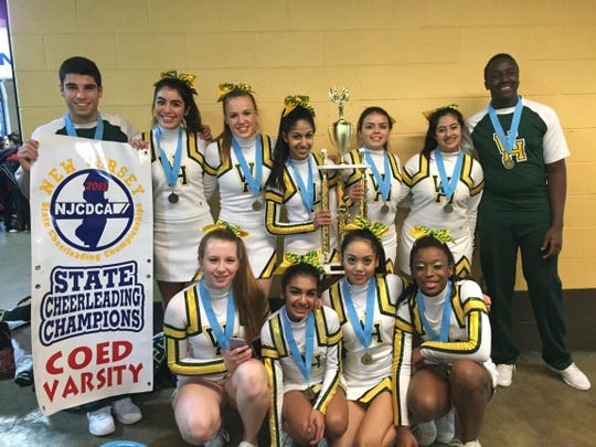 The Wardlaw-Hartidge Varsity Competition Cheerleaders were named state cheerleading champions in the co-ed varsity division on March 1. This was the first time the W-H Varsity Cheerleaders competed in the state championships, which were conducted at Sun National Bank Arena in Trenton. More than 100 schools were represented at the competition, with 41 teams participating in the high school session. Of those 41 teams, only nine achieved a clean routine with no errors or dropped stunts. Wardlaw-Hartridge was one of those teams. The team, which is led by captains Uditi Nichani of Scotch Plains, Nicholas D'Amore of Scotch Plains and Carlin Schildge of Westfield, is completed by seniors Rida Aziz of Scotch Plains, Cynthia Liberal of Hillside and Brian Machoka of Edison, junior Antonia Santangelo of Rahway, sophomore Samantha Anastasiou of Scotch Plains, and freshmen Lauryn Buencamino of North Brunswick, Sarah Imtiaz of Fords, Lauren Kisare of Bridgewater and Hannah Yates of Piscataway. This is the first state championship title in the school's program history.