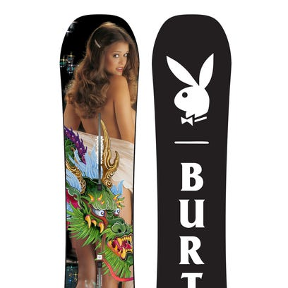 This publicity photo shows one of three Burton snowboard
