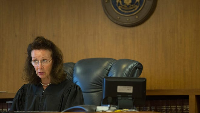 Judge Cynthia Platzer speaks during the arraignment of Douglas Edwin Ball Jr. Tuesday, August 23, 2016 at the St. Clair County Courthouse in Port Huron. Ball was arraigned on charges of open murder and torture in the death of his wife, Lydia Ball.