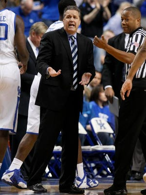 UK head coach John Calipari was frustrated during the first half against Alabama on Tuesday night.