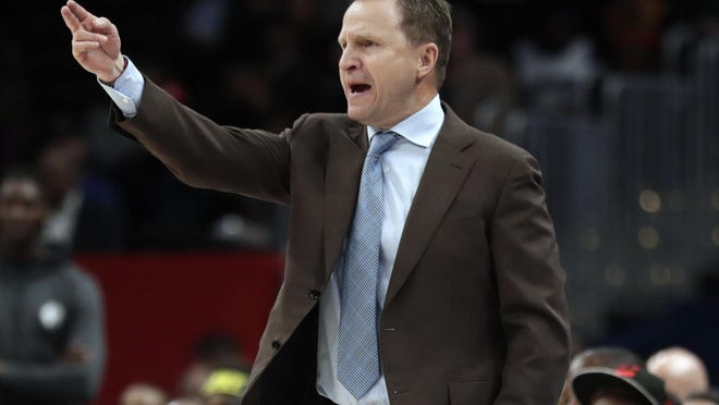 Washington Wizards head coach Scott Brooks gestures during the second half of an NBA basketball game against the New York Knicks, Tuesday, March 10, 2020, in Washington. The Wizards won 122-115.