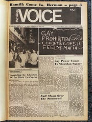 This shows the front page of the Village Voice, 7/3/69