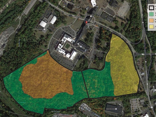 The orange area shows the site to be developed under