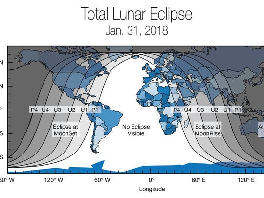 A supermoon, blue moon and blood moon will converge during a lunar eclipse early Wednesday morning.
