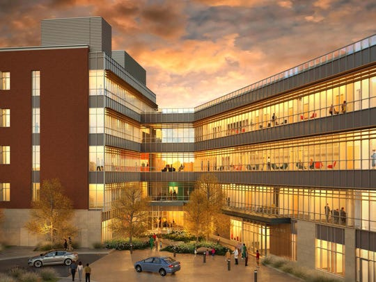 The back side of the new Health Professions Building