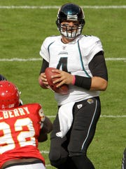 Jacksonville Jaguars quarterback Todd Bouman throws during the first quarter of an NFL football game against the Kansas City Chiefs on Oct. 24, 2010.