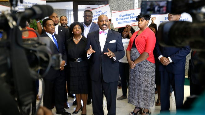 June 6, 2016- State Representative G.A. Hardaway Sr., center, with other elected officials and concerned members of the community during a press conference called to advocate for the Shelby County Commission to fully fund Shelby County Schools this year. The district needs $27 million to close its gap, which would mean more than $40 million that the county would have to find to give money to the ASD and municipal districts as well. That could require a tax increase, commissioners have stated.