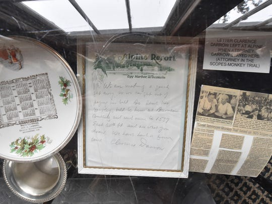 Filled with displayed historical memorabilia, a letter from Clarence Darrow who stayed at the Egg Harbor resort. Darrow was the attorney in the Scopes Monkey Trial in 1925.