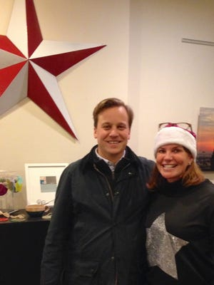 """John Hodges, a partner in A24, the company that distributed films including """"Moonlight"""" and """"20th Century Women,"""" visited Small Star Art House in York recently to speak about """"Moonlight"""" before a showing of the film. Here he is with Small Star's owner Patti Stirk."""