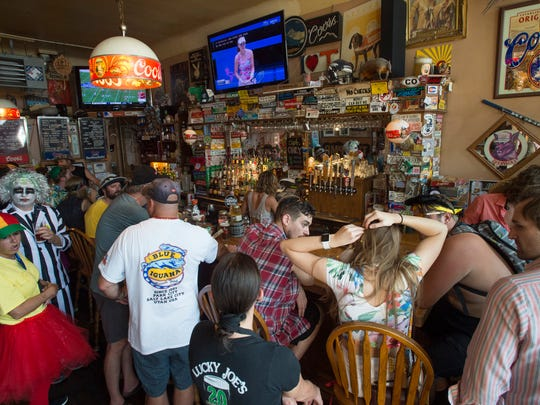 People pack Town Pump in Old Town before Tour de Fat festivities begin at New Belgium Brewing on Saturday, September 2, 2017.