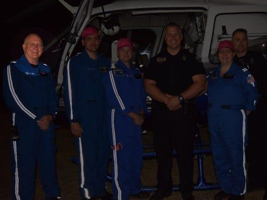 From left: NMMC chief flight nurse Jim Spruiell, pilot John Bremseth, flight paramedic Kyle Holley and flight nurse Jennifer Williams Cook.