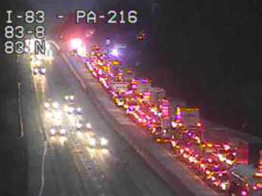 I-83 south is closed this morning near the Glen Rock exit as emergency vehicles respond to a crash.