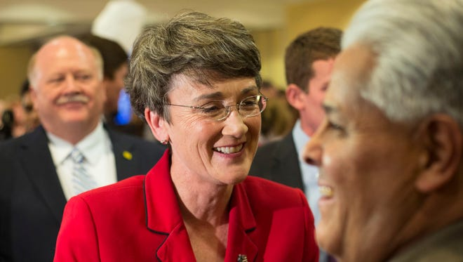In this Nov. 6, 2012 file photo, Heather Wilson is seen in Albuquerque, N.M.