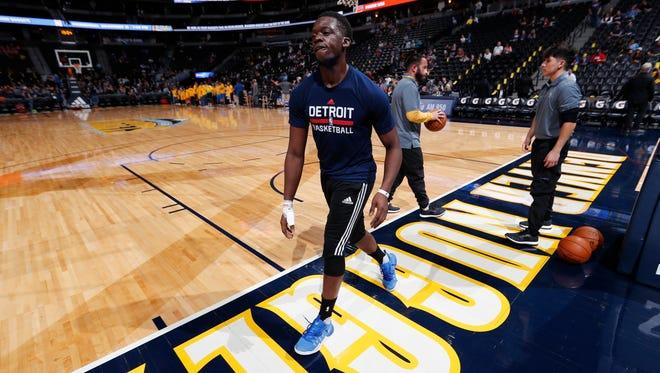 Injured Detroit Pistons guard Reggie Jackson leaves the court after practicing Nov. 12, 2016, in Denver.
