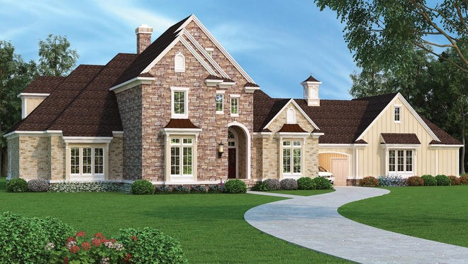 A porte cochere provides both a convenient place for friends to park and a covered walkway from the garage to the home.