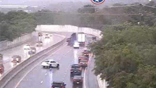 A jackknifed tractor trailer is blocking traffic on Briley Parkway westbound at the Interstate 24 exit.