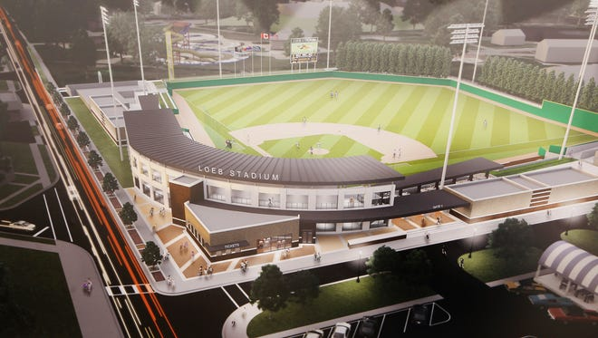 A conceptual drawing of proposed plans for the renovation of Loeb Stadium is revealed during a press conference Wednesday, June 28, 2017, at Loeb Stadium. Costs for the renovation are projected to be $16 million. Plans call for the renovation to begin in August 2019 and be completed in the fall of 2020.