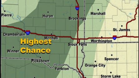 Chances of rain for southeast South Dakota on Tuesday night.
