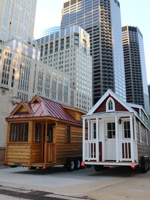 Finn and Rose, the two tiny houses that traveled the country with the Thousand Trails and Encore's Traveling Tiny House Tour.