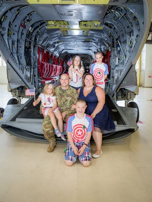 Rhiannon Knutson with her husband, Tom Knutson, and their four children Coyle, Bennett,  Aloara and Elise. Rhiannon was awarded Armed Force's Insurance National Guard Military Spouse of the Year.